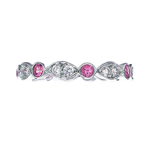 Round Diamonds & Pink Sapphires Swing Band