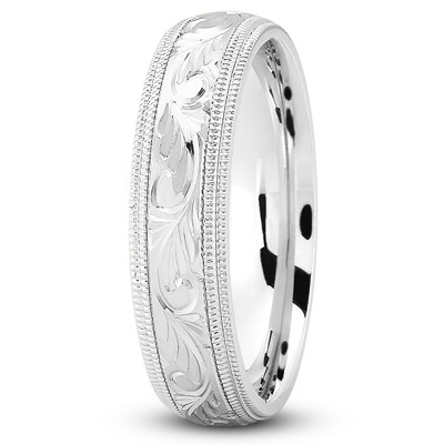Milligrain Engraved Vintage Wedding Band