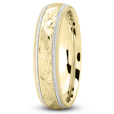 Milligrain Yellow & White Wedding Band