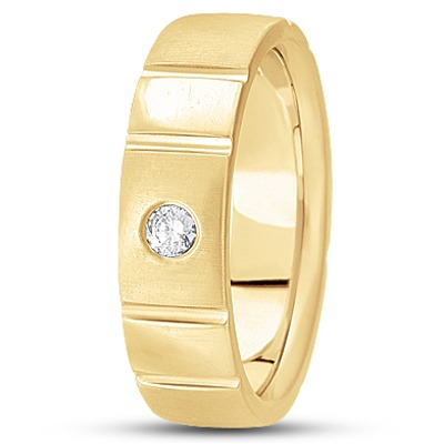 Solitaire Mens Diamond Band in Yellow