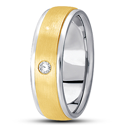 Round Diamond Mens Satin Two Tone Band