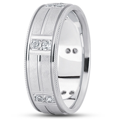 Duo Diamond Milligrain Criss-Cross Engraved Band