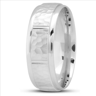 Men's Comfort Hammered Wedding Band