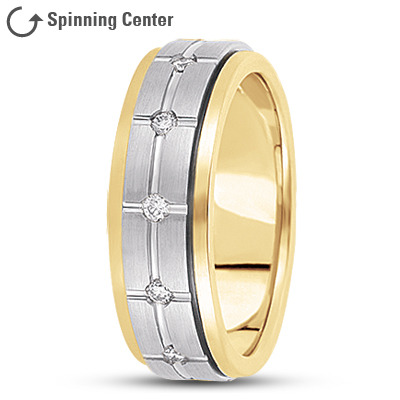 Diamond Cross Spinner Wedding Band Two Tone