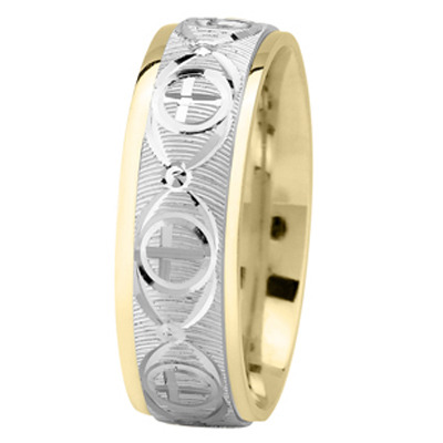 Religious Men Wedding Band in White & Yellow Gold
