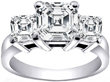 Three Stone Asscher Cut Diamond Anniversary-Engagement Ring