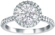 Vintage Style Round Diamond Halo Engagement Ring